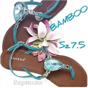 Bamboo jeweled sandals flats casual turquoise